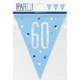 60th BIRTHDAY GLITZ BLUE PRISMATIC PLASTIC PENNANT BANNER
