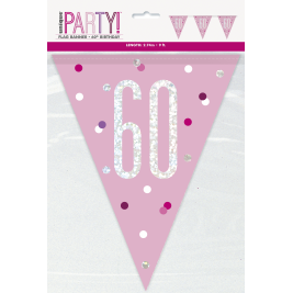 60th Birthday Glitz Pink Prismatic Plastic Pennant Banner