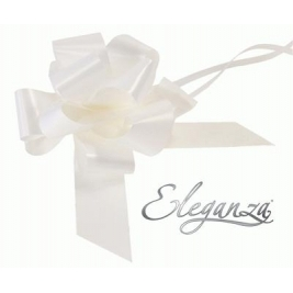 Eleganza Poly Pull Bows White - 50mm x 20pcs