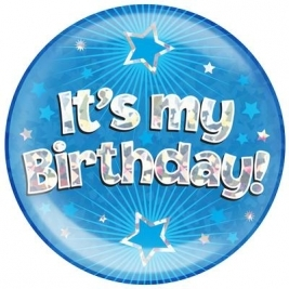 It�s My Birthday - Blue Holographic Jumbo Badge