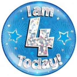 I am 4 Today - Blue Holographic Jumbo Badge