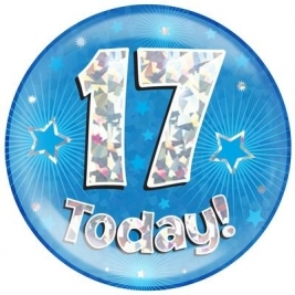 17 Today - Blue Holographic Jumbo Badge
