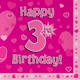 Pink Happy 3rd Birthday 3ply Napkins 33cm x 33cm - 16pk