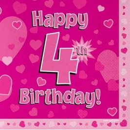 Pink Happy 4th Birthday 3ply Napkins 33cm x 33cm - 16pk