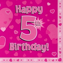 Pink Happy 5th Birthday 3ply Napkins 33cm x 33cm - 16pk