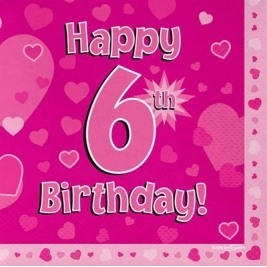 Pink Happy 6th Birthday 3ply Napkins 33cm x 33cm - 16pk