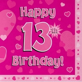 Pink Happy 13th Birthday 3ply Napkins 33cm x 33cm - 16pk