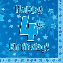 Blue Happy 4th Birthday 3ply Napkins 33cm x 33cm - 16pk