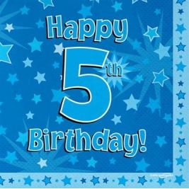 Blue Happy 5th Birthday 3ply Napkins 33cm x 33cm - 16pk