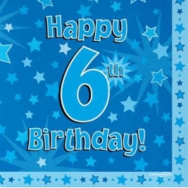 Blue Happy 6th Birthday 3ply Napkins 33cm x 33cm - 16pk