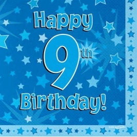 Blue Happy 9th Birthday 3ply Napkins 33cm x 33cm - 16pk