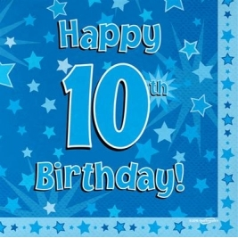 Blue Happy 10th Birthday 3ply Napkins 33cm x 33cm - 16pk