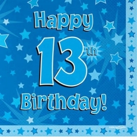 Blue Happy 13th Birthday 3ply Napkins 33cm x 33cm - 16pk