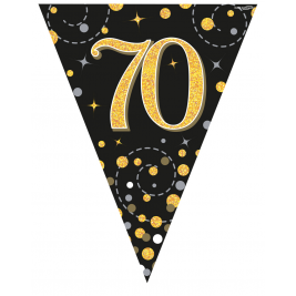 70 Black & Gold Sparkling Fizz Holographic  Party Bunting11 flags 3.9m
