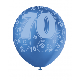 70th Birthday Blue Glitz 12