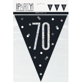 70th BIRTHDAY GLITZ BLACK PRISMATIC PLASTIC PENNANT BANNER
