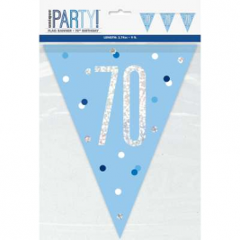 70th BIRTHDAY GLITZ BLUE PRISMATIC PLASTIC PENNANT BANNER