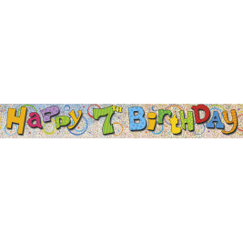 7th Birthday Prism Foil Banner 12ft