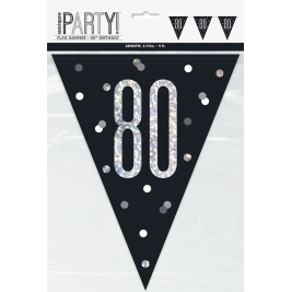 80th BIRTHDAY GLITZ BLACK PRISMATIC PLASTIC PENNANT BANNER