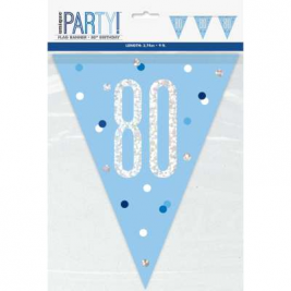 80th BIRTHDAY GLITZ BLUE PRISMATIC PLASTIC PENNANT BANNER
