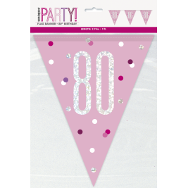 80th Birthday Glitz Pink Prismatic Plastic Pennant Banner