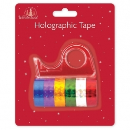 Pack 6 Rolls Holographic Gift Tape With Dispenser