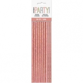 Birthday Paper Straws Glitz Rose Gold 10pk
