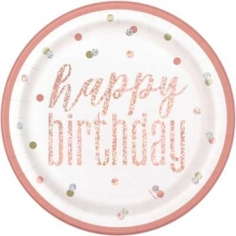 Happy Birthday Rose Gold Glitz Foil Round 9 Inch Dinner Plates Pack of 8