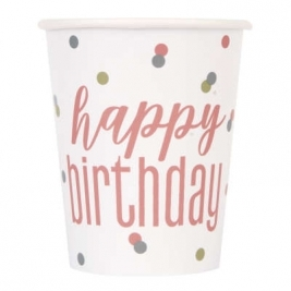 Happy Birthday Glitz Rose Gold Cups 9oz Pack of 8
