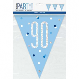 90th BIRTHDAY GLITZ BLUE PRISMATIC PLASTIC PENNANT BANNER