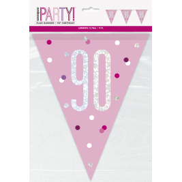 90th Birthday Glitz Pink Prismatic Plastic Pennant BannerR
