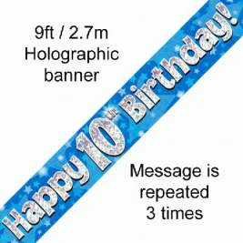 9ft Banner Happy 10th Birthday Blue holographic