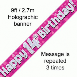 9ft Banner Happy 14th Birthday Pink Holographic