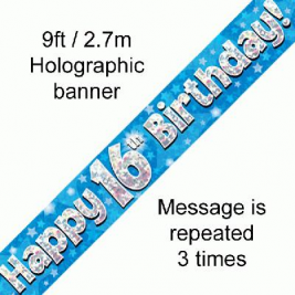 9ft Banner Happy 16th Birthday Blue Holographic