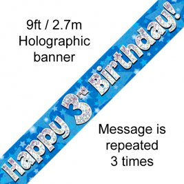 9ft Banner Happy 3rd Birthday Blue holographic