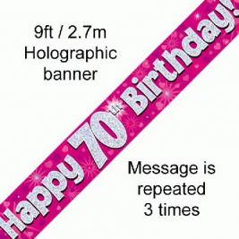 9ft Banner Happy 70th Birthday Pink Holographic