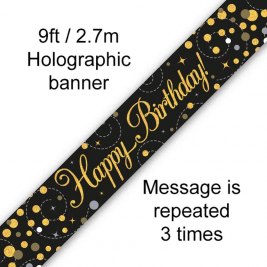 9ft Banner Sparkling Fizz Happy Birthday Black & Gold Holographic