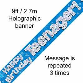 9ft Banner Teenager Blue
