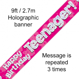 9ft Banner Teenager Pink
