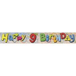 9th Birthday Prism Foil Banner 12ft
