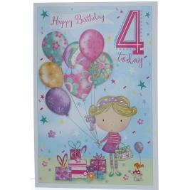 Age 4 Girl Birthday Card - Princess, Castle, Balloons & Bunting 7.75