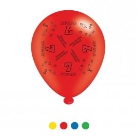 Age 7 Unisex Birthday Latex Balloons - Pack of 8