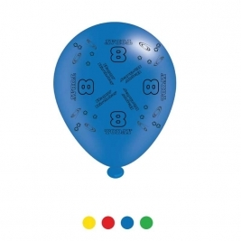 Age 8 Unisex Birthday Latex Balloons - Pack of 8