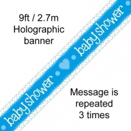 Baby Shower Blue Hologrpahic Banner 9ft