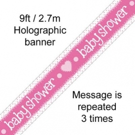 Baby Shower Pink Hologrpahic Banner 9ft