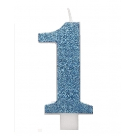 Blue Glitz Number 1 Birthday Candle
