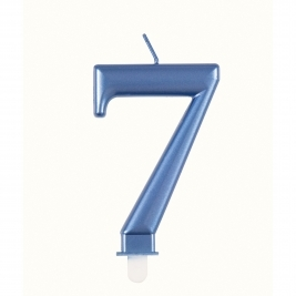 Blue Metallic Number 7 Candle