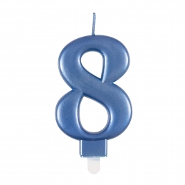 Blue Metallic Number 8 Candle