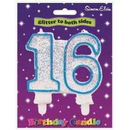 Blue Number 16 Glittered Birthday Candle