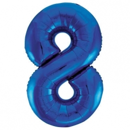 Blue Number 8 Foil Balloon - 34